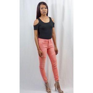 Denim - Faded Coral Skinny Jeans